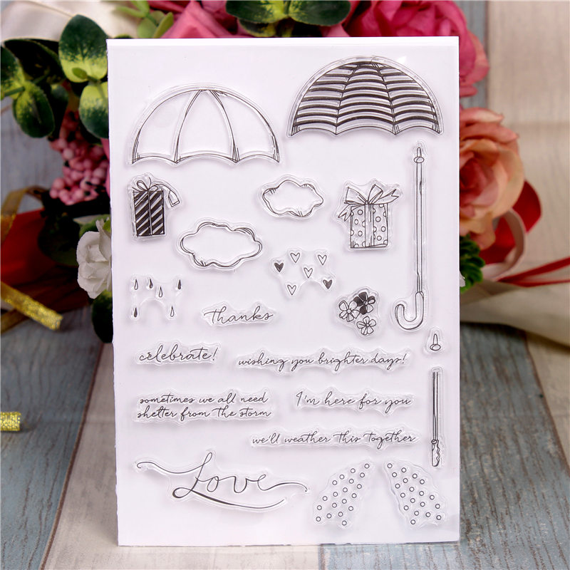 Rubber Silicone Clear Stamps for Scrapbooking Tampons Transparents Seal Background Stamp Card Making Diy Rain umbrella Stempel цена и фото