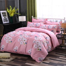 Pink Flowers Luxury Thicken Bedding Sets Queen King Size Duvet Cover Pillowcase Bed Sheet 4pcs Bedline Bed Set Housse De Couette