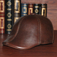 Autumn and winter middle aged leather ear Leather Hat Beret peaked cap outdoor dad in elderly male forward cap