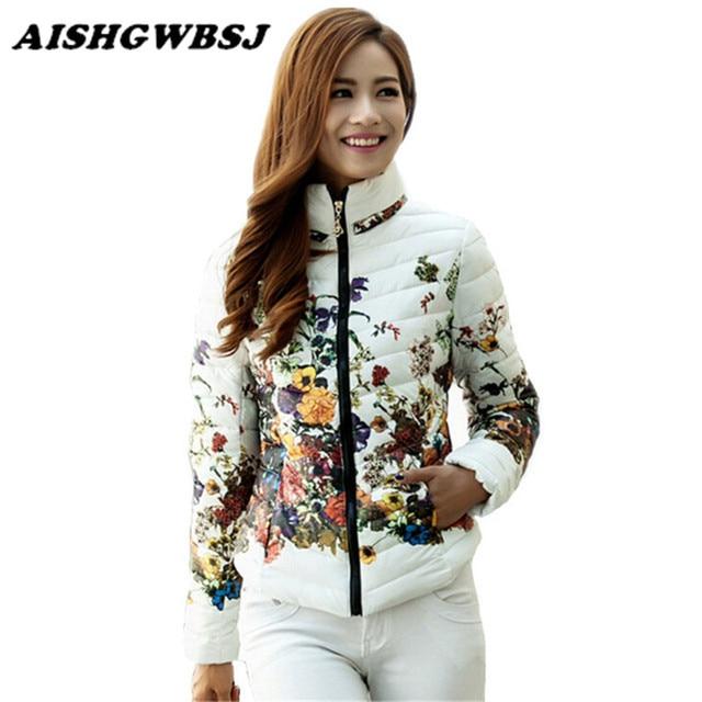 Chaquetas Mujer 2016 Winter Jacket Slim Down Cotton Parkas Womens Flower Coats Plus Size Zippers Outerwear Woman Clothing LJ2761