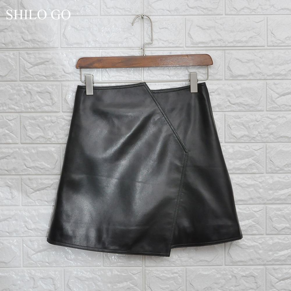 Cuero Para Shilo Oficina Oveja Piel Ir Mujer Cintura Faldas Alta Conciso De Moda Primavera Genuino rtr5qR