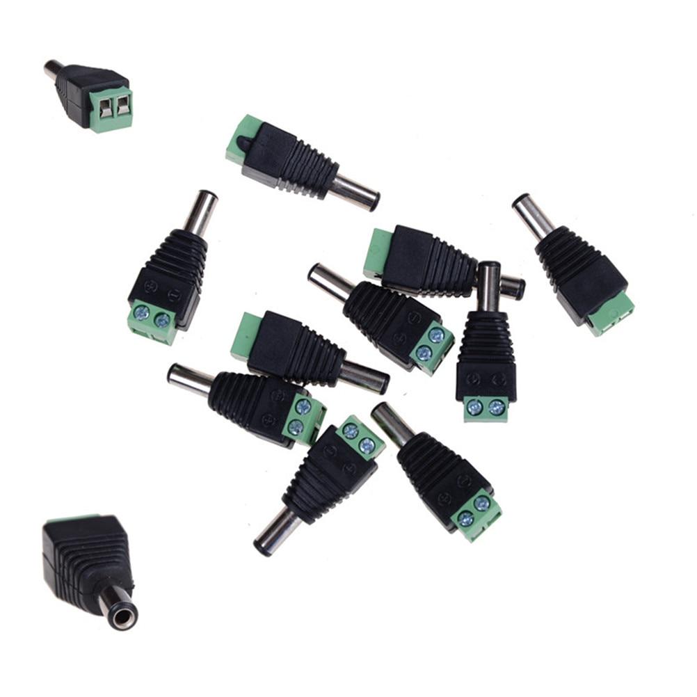 10 Pcs 12V 2.1 x 5.5mm DC Power Male Plug Jack Adapter Connector Plug for CCTV single color LED Light