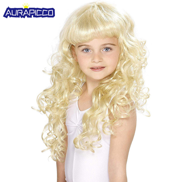 Children Girls Wig Kids Princess Cosplay Party Big Wavy Curly Golden Hair Halloween Costume For Kids Accessories Synthetic Wig