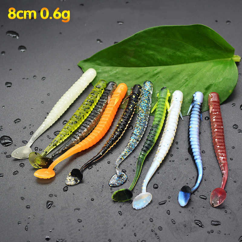 2pcs/fishing Lures 80mm 0.8g T tail Soft Bait Artificial silicone Fishing soft lure  spiral Worms fishing tackle fishing lure