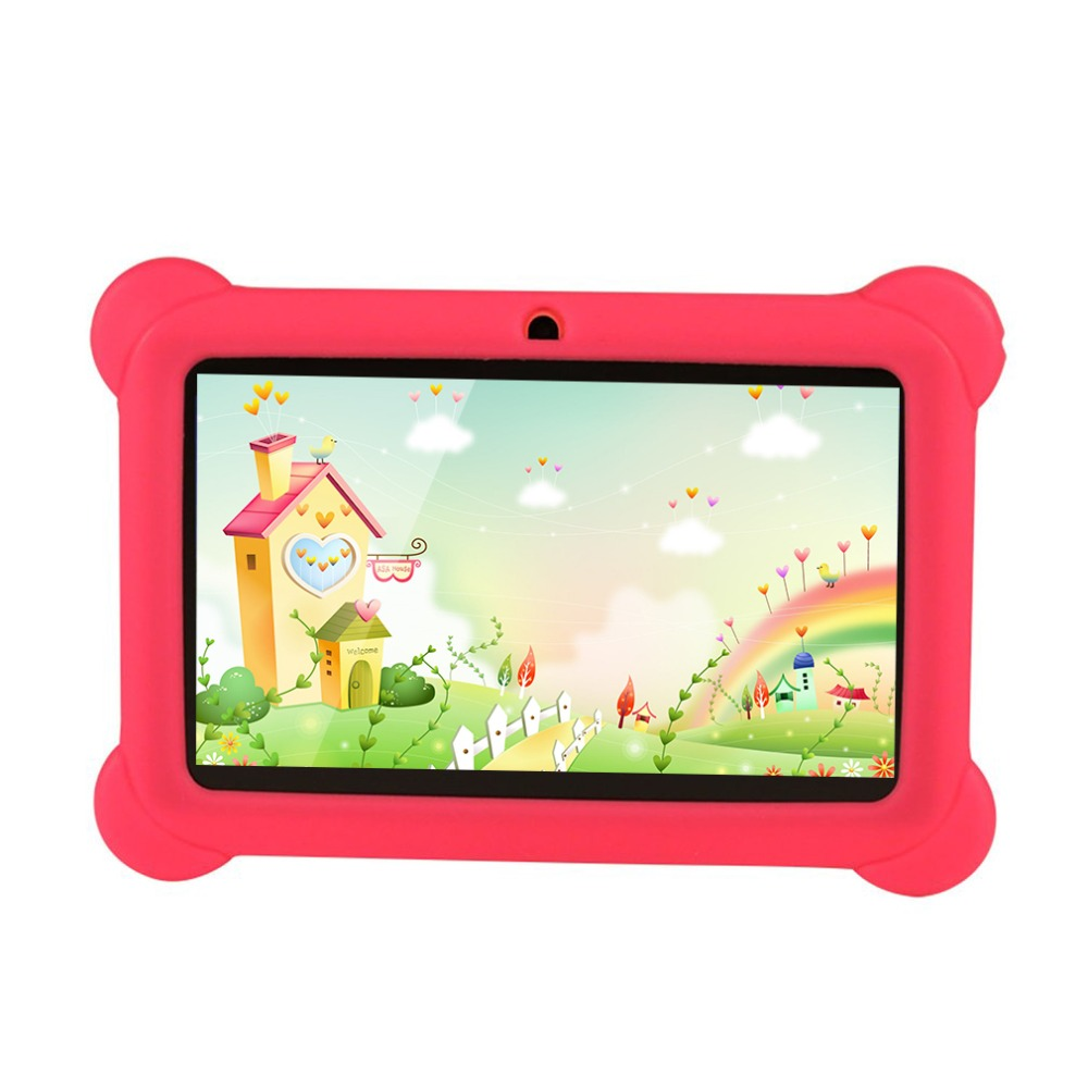 Kids Tablet PC 7 inch Children Tablet 512MB RAM 4GB ROM 1024*600 Quad Core 0.3MP Dual Camera Wifi Android 4.4 Silicone Cover olut m3 7 0 android 4 1 tablet pc w 512mb ram 4gb rom wi fi tf white