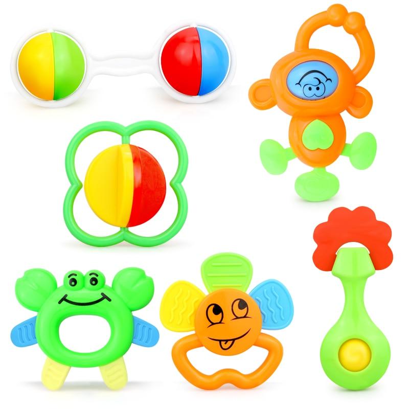 Leuke Baby Rammelaars Hand Hold Jingle Schudden Bel Speelgoed Cartoon Bijtring Muziek Greep Mobiles Zachte Crib Pasgeboren Baby 0- 12 maanden 1