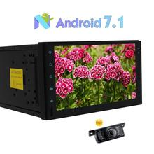 2 Din Car Stereo Multimedia Player Android 7.1 Support GPS Navigation 3G/4G WIFI Bluetooth+1080P Video Cam-In + Free Rear Camera