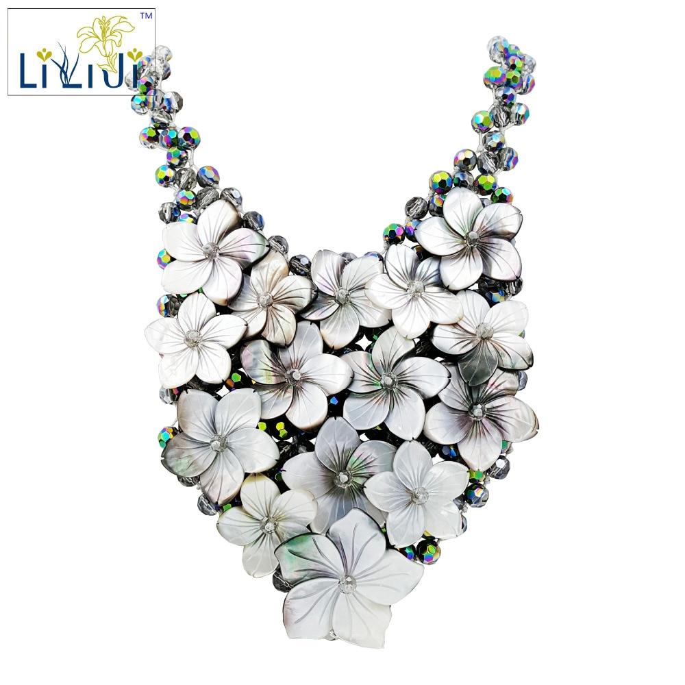 Lii Ji Handmade knitting Shining Crystal Beads setting Shell Flowers Women Jewelry  Statement Necklace