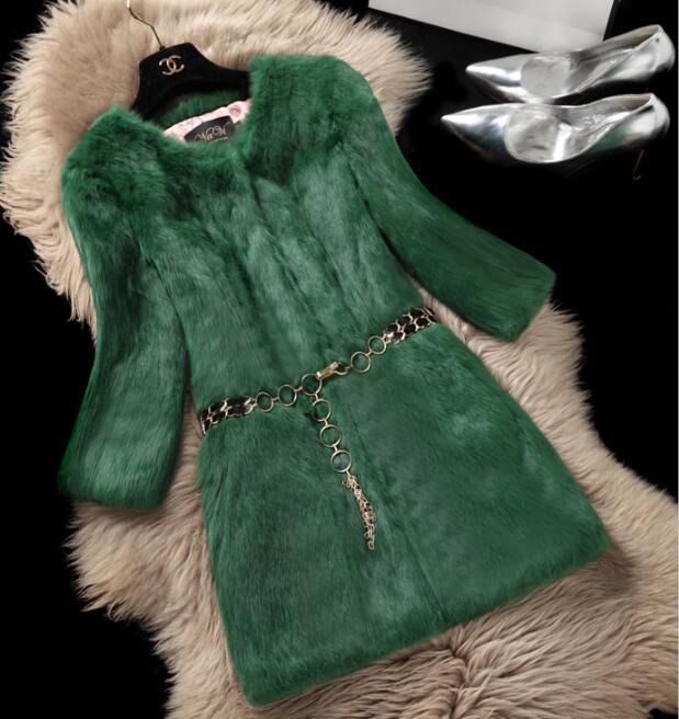 green Femmes white À De D'hiver pink Manteau Green Longues Fourrure yellow Manches Mode red Lapin 2017 blue grey Nouvelle black begie 7q1IwxO