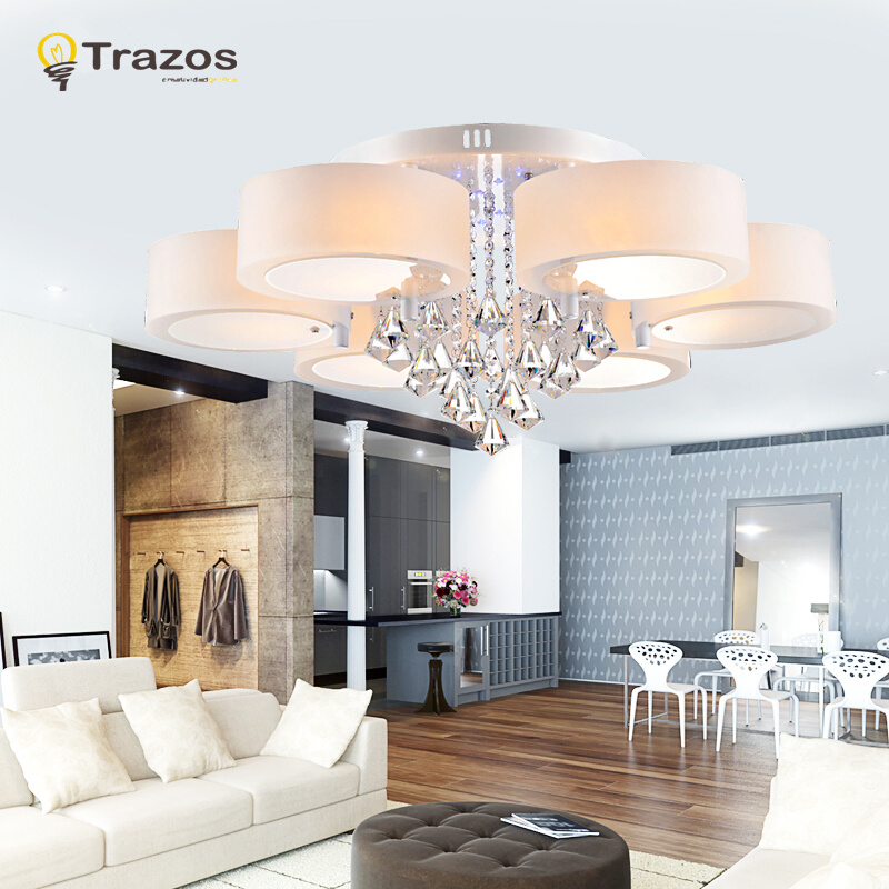 Crystal Led Ceiling Lights Modern Fashionable Design Dining Room Lamp  Pendente De Teto De Cristal White Shade Acrylic Lustre In Ceiling Lights  From Lights ...