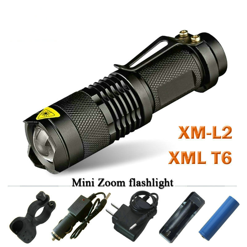 Led Flashlight Mini Zoom XM-L2 XML T6 XPE Q5 Torch Rechargeable Flashlight 3800 Lumens Use 18650 Rechargeable Battery