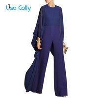 Lisa Colly White Black Jumpsuits for Women Long Sleeve O Neck Women summer Autumn Chiffon Jumpsuit long trousers Wid leg pants