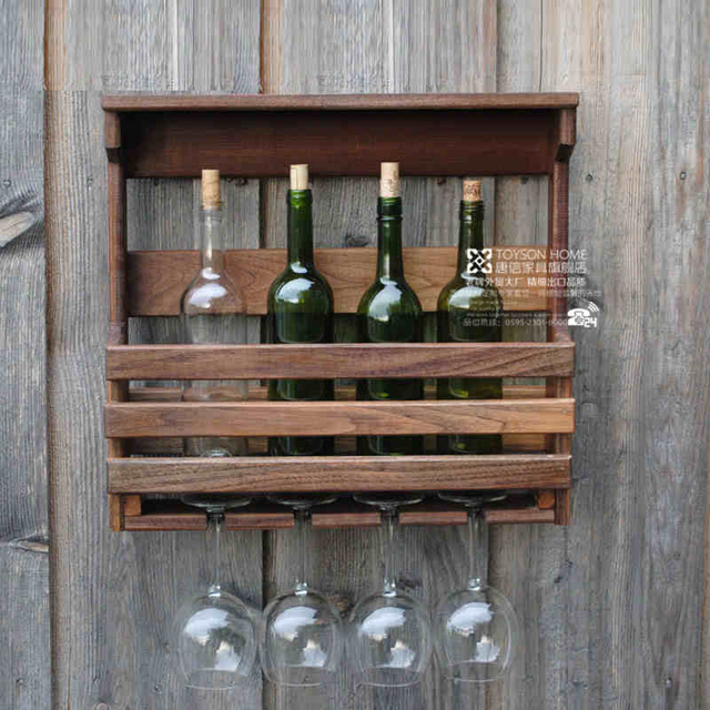 Wall Hanging Wine Racks Wood Rack Restaurant Vintage X93