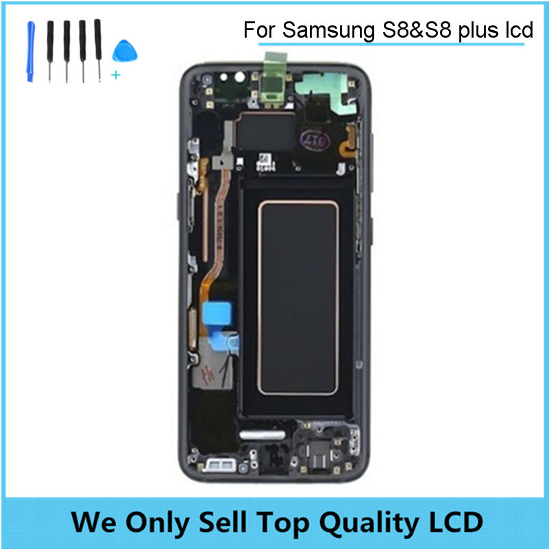 For Samsung Galaxy S8 S8+ Plus Super Amoled Infinity Display SM-G9550 G955 G950 Touch Screen Digitizer Assembly with Frame Bezel