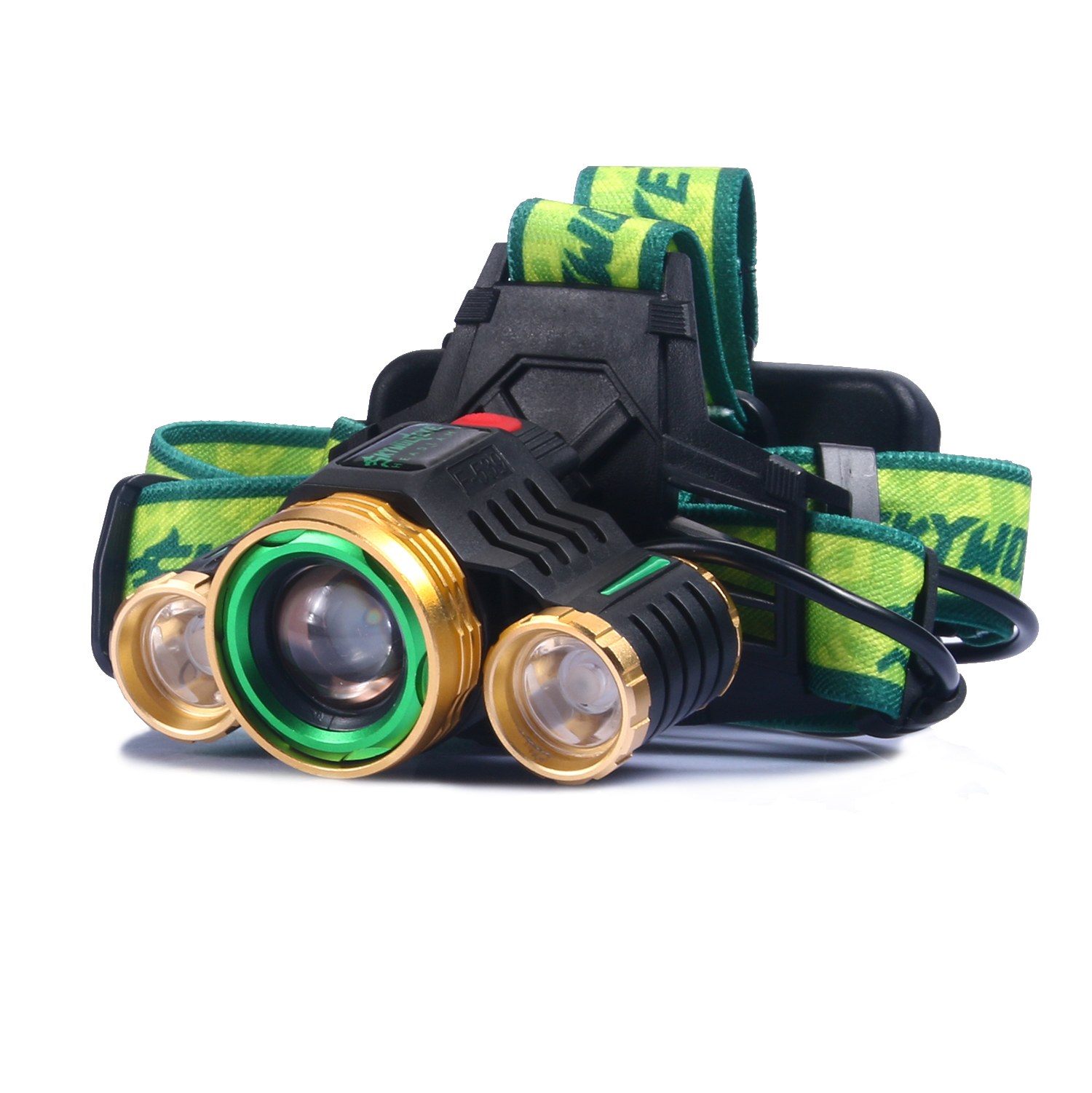 Cool XML T6 + XPE LED Headlamp Headlight 1000LM Super Bright Rechargeable Outdoor Gold Head Light Lamp Torch T0