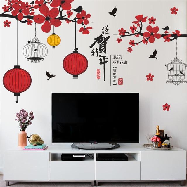 Mới của trung quốc year tường stickers cửa sổ nền thủy tinh TV trang trí lễ hội tree bird đèn tường đèn lồng decals cửa hàng bức tranh tường