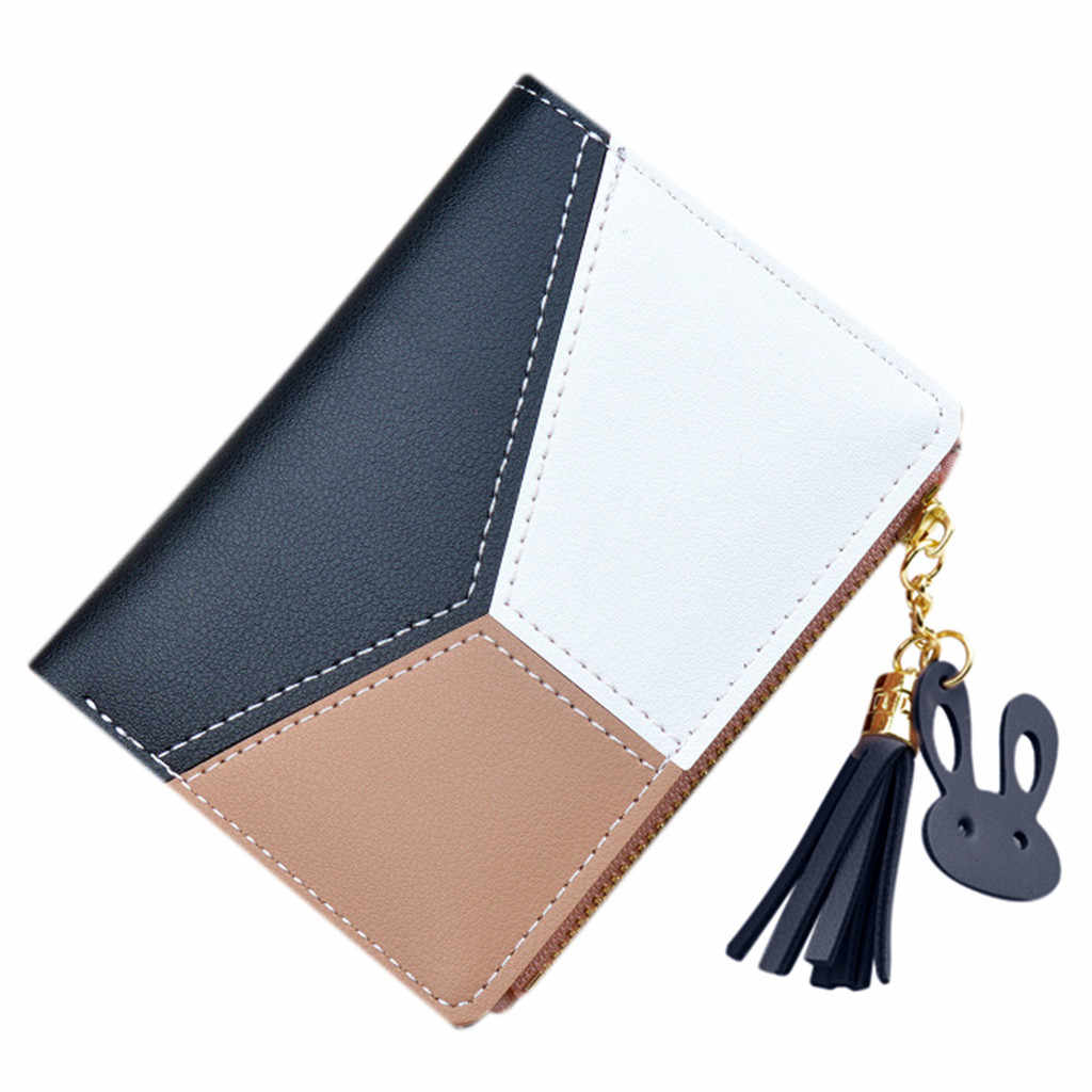 Trendy  Coin Purses For Women Ladies Brand Leather Short Patchwork Matching Colors Mini Pouch Girl Wallet  Key Holder Carteira