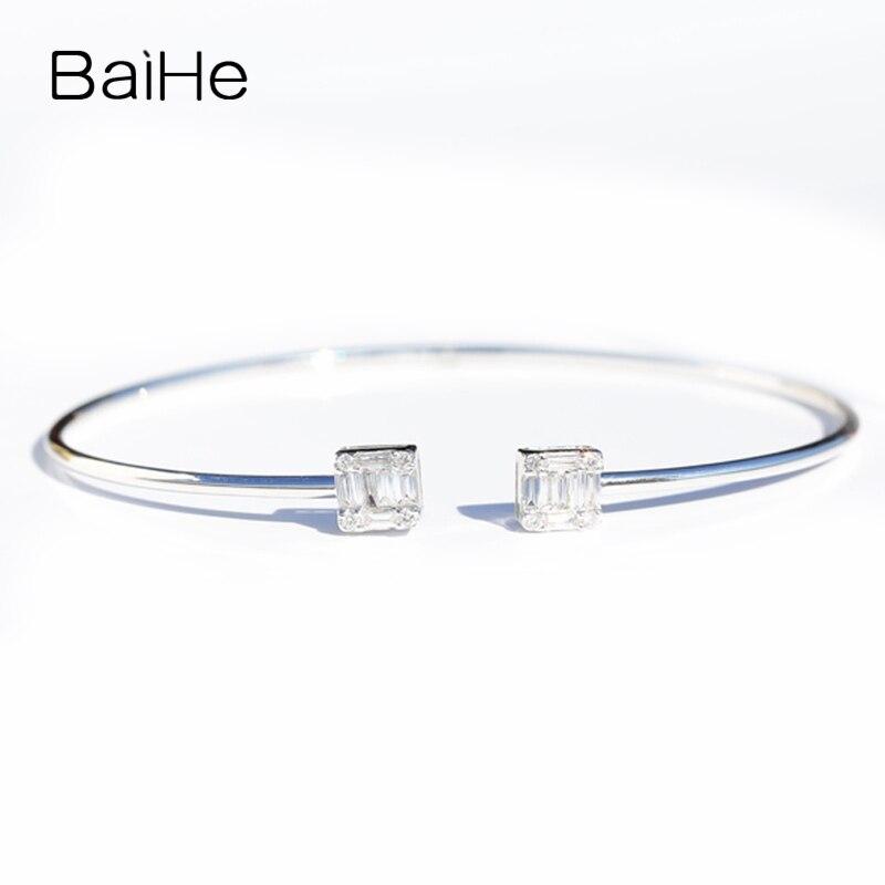 BAIHE Solid 14K White Gold(AU585) 0.38ct Round Single Cut & Square Cut 100% Genuine Natural Diamonds Engagement Gift BraceletBAIHE Solid 14K White Gold(AU585) 0.38ct Round Single Cut & Square Cut 100% Genuine Natural Diamonds Engagement Gift Bracelet