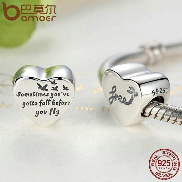 BAMOER Romantico 100% 925 Sterling Silver Cuore Di Libertà Amore Vite di Fascini misura I Braccialetti & Braccialetti Monili di Modo Delle Donne PSC031