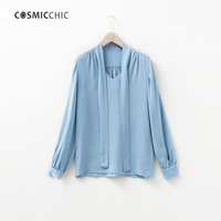 2017 New Top Quality Silk Blouses For Women Pure Mulberry Charmuse Soft 22MM V Neck Bow