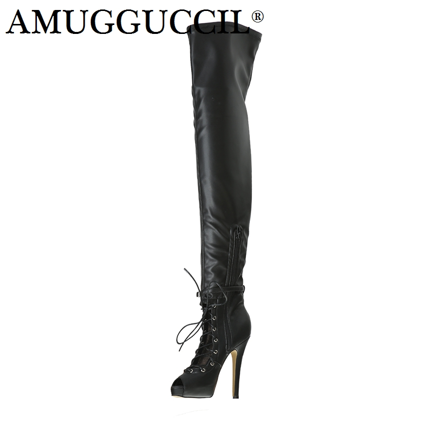 2018 New Plus Big Size 34-52 Black Zip Buckle Lace Up Sexy Thigh High Heel Platform Over The Knee Ladies Women Autumn Boot X1715 2018 new plus big size 32 46 black brown gray red lace up zip cut outs sexy female lady over the knee women summer boots x1633