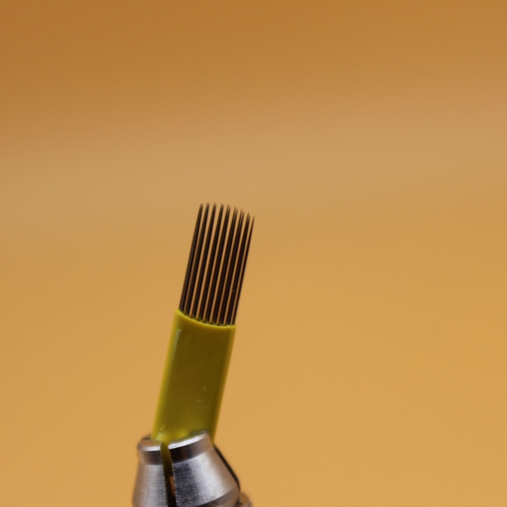 100pcs 15PIN Double Line UShape Eyebrow Microbalding  Needle Shading Permanent Makeup Tattoo Blade For Eyebrow Microblading