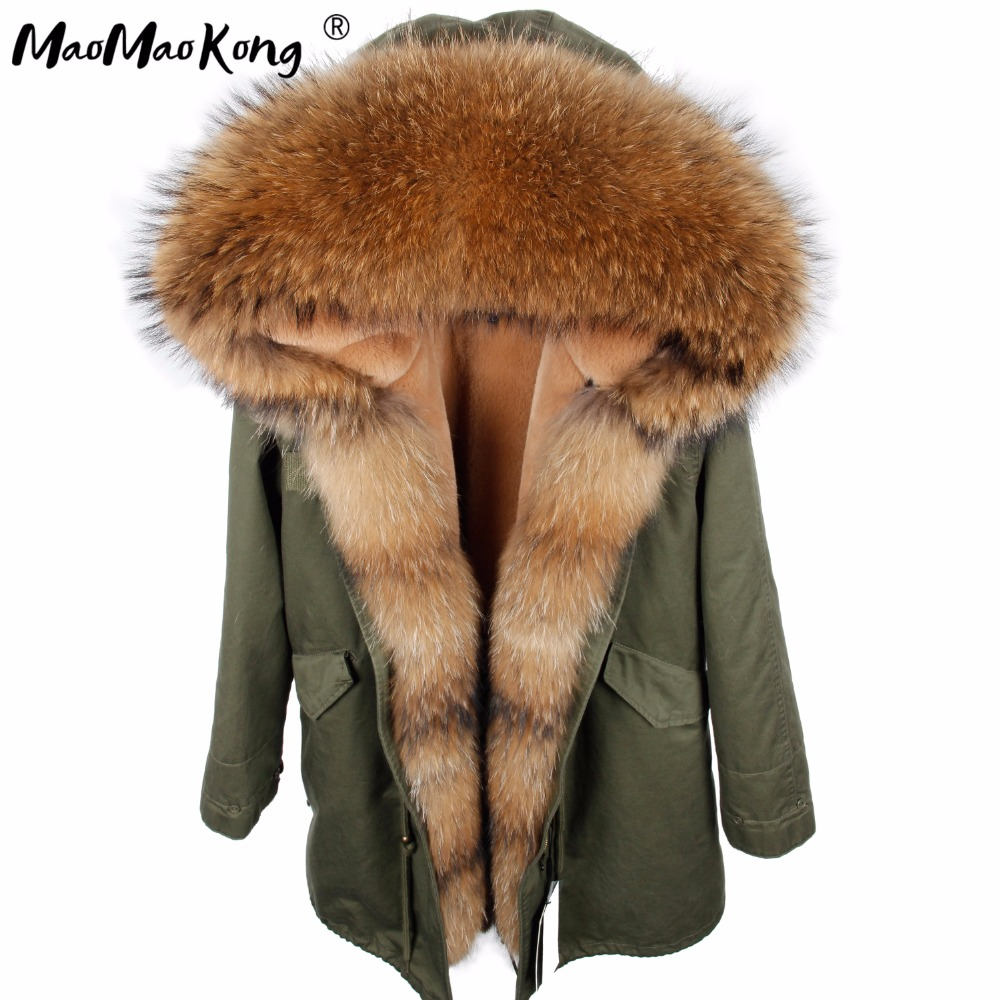 MAO MAO KONG 2017 new winter long jacket parkas Camouflage Army green raccoon fur collar hooded parkas thick coat real fur handbag
