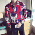 Flores Para Hombre Camisas 2017 Camisas Para Hombre Floral Rojo De Lujo Masculino Impresión Blusa de Verano Camisa Masculina Social Club De Lujo Delgado
