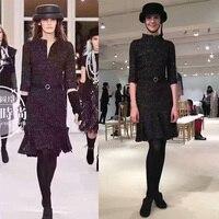 2016 new winter dress for women,tweed fabric elegant office dress,amazing vestido de festa,unique slim party dresses,black dress