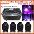 4 pçs/lote Preço de Fábrica Led Wash 7*12 w Moving Head Zoom Luz com caso do vôo cree X axis540degree DJ Bar Luz