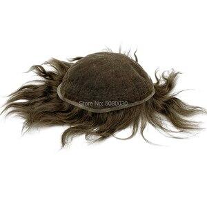 Image 4 - Pelucas para hombre de tupé, línea de pelo natural, encaje suizo completo, tamaño 8*10 pulgadas, sistema de cabello en stock, cabello humano remy