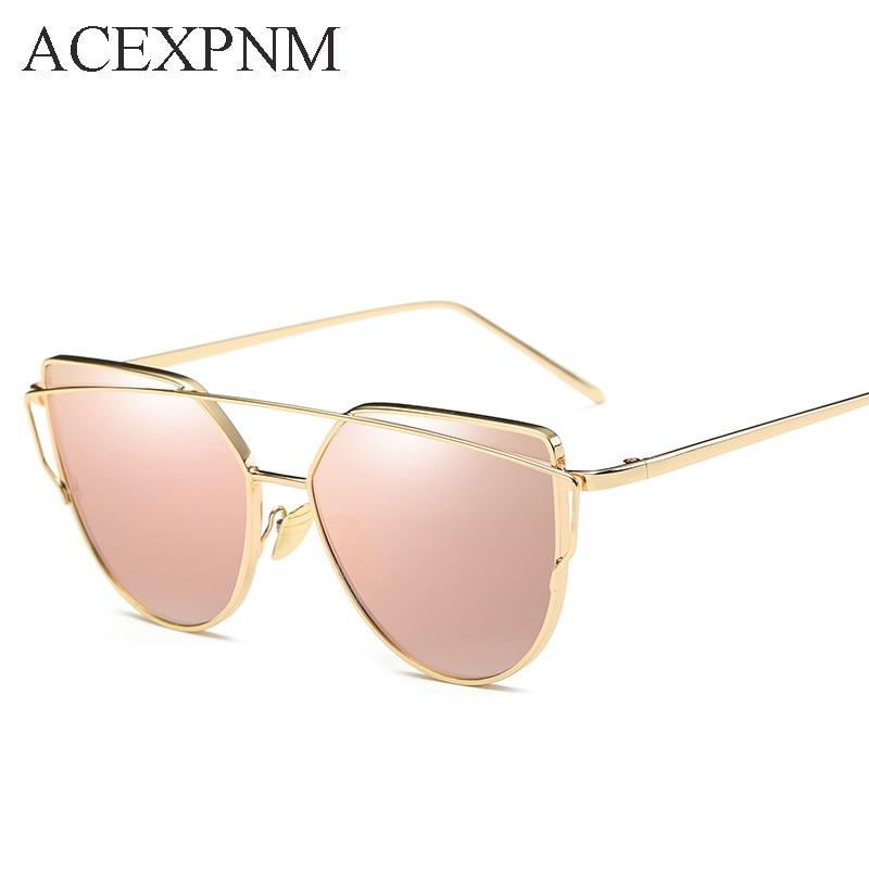 2018 Cat Eye vintage merk designer rose goud spiegel zonnebril voor - Kledingaccessoires