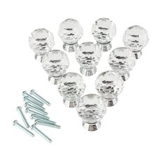 5 Pack Pack of 10 30mm Crystal Glass Clear Cabinet Knob Drawer Pull Handle Kitchen Door Wardrobe Hardware