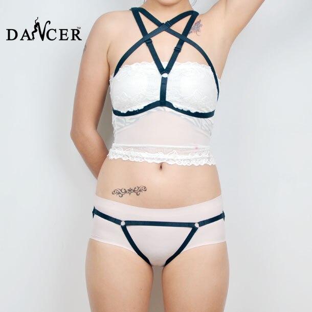 Buy BDSM  Body HarnessSet Open Cup Bra Suspenders Women Girl Striptease Dancer Lingerie Garter Belt