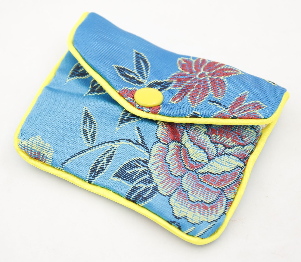 10 Pcs Blue Silk Cloth Jewelry Button Tiny Bags Pouch 65mmX80mm Multi Purpose