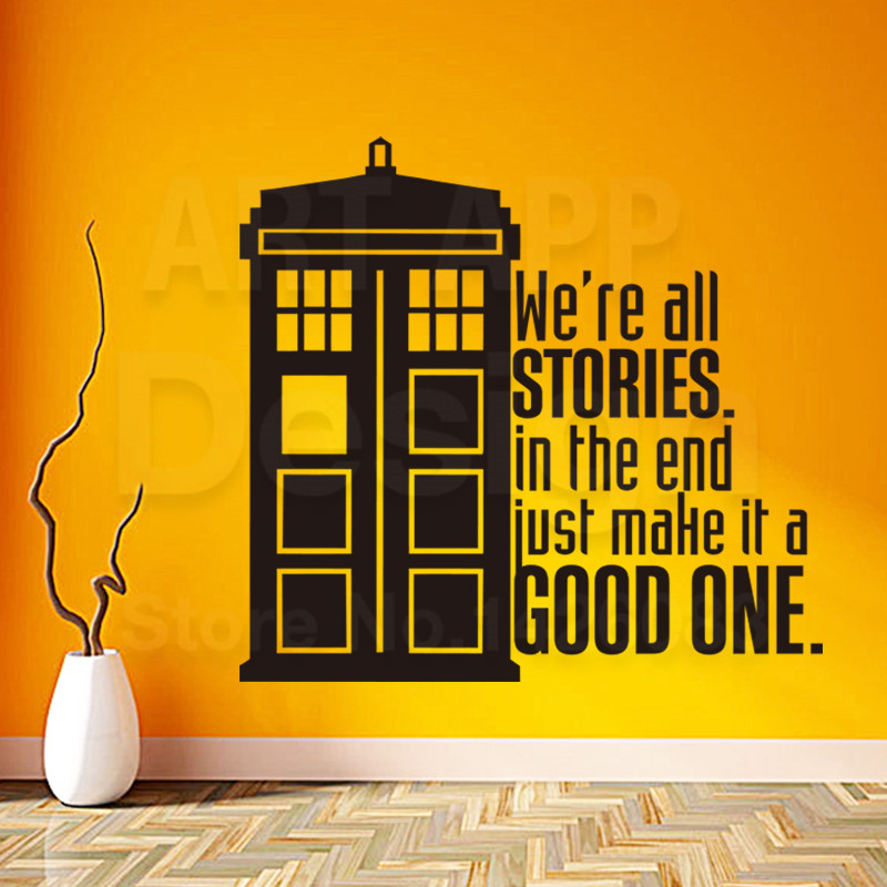 ▻Art New design police box home decor vinyl good story words wall ...