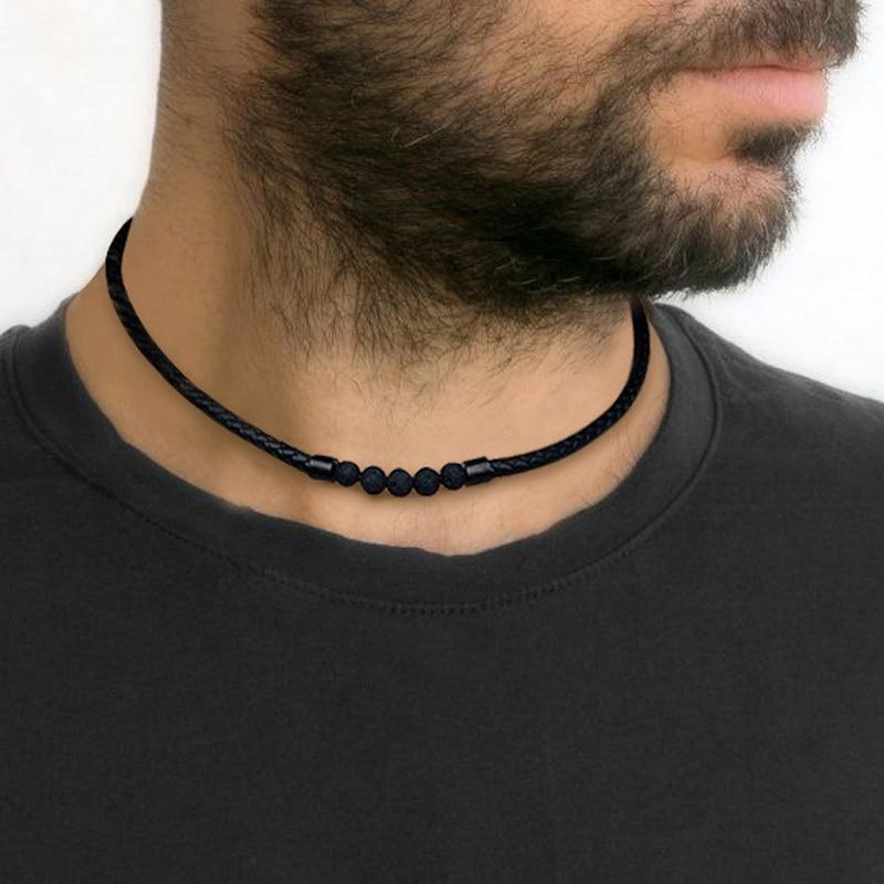 Männer der Lava Rock Geflochtene Leder Halsband Halskette Männer Boho Hippie Schmuck Öl Diffusor Surf Halsketten in Schwarz