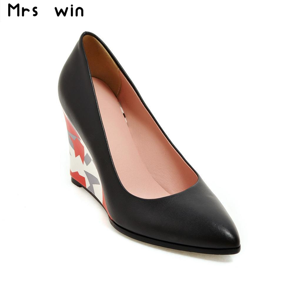 New Slip On Wedges High Heels Women Pumps poined Toe Autumn/Spring Party dress Shoes woman large Size 34-43 plus size 34 49 new spring summer women wedges shoes pointed toe work shoes women pumps high heels ladies casual dress pumps