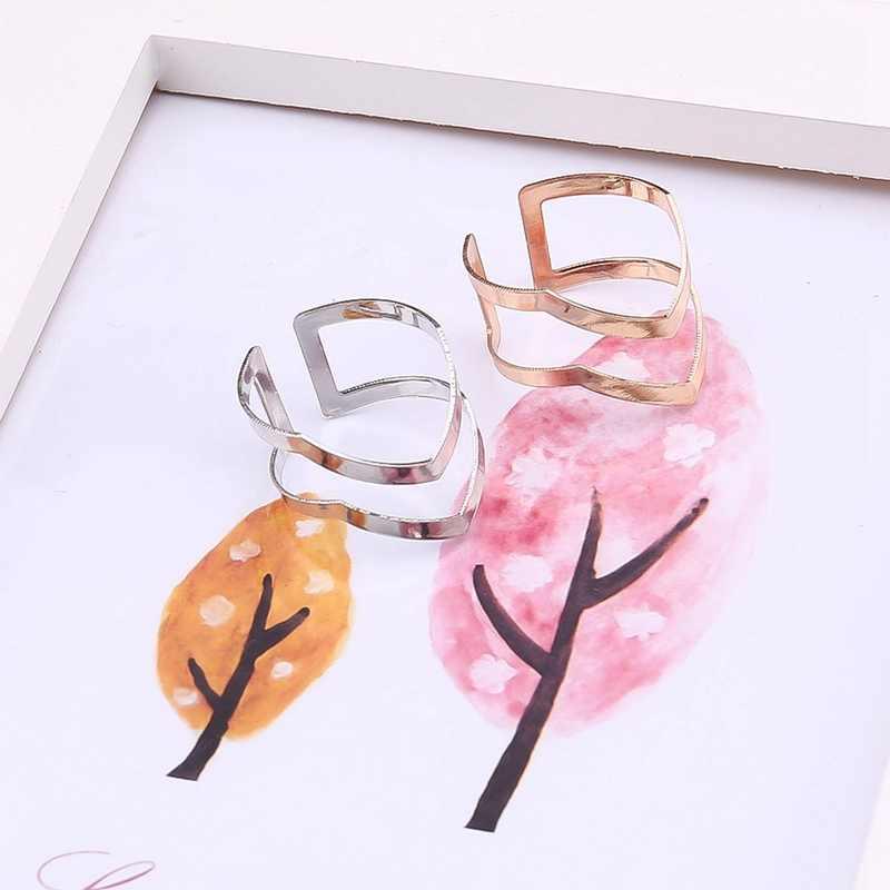 Новая мода золото посеребренные двойной V-образный полуоткрытый Регулируемый винтаж женщина кольца очаровательные украшения Прямая доставка