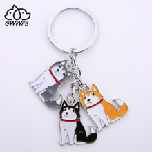Siberian husky car key chains for men women girls silver color alloy metal pet dog pendant bag charm keychain key rings jewelry