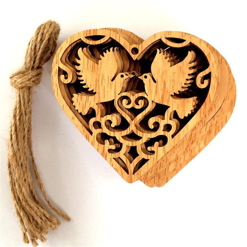 10PCS DIY Wedding Love&Bird&Mr Wooden Pendants Ornaments Christmas Party Decorations Xmas Tree Ornaments