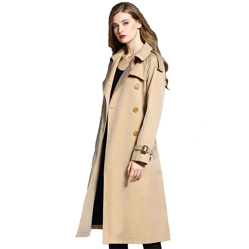 High quality Trench Coat Women 2019 Spring Autumn Casual Tops Khaki Cotton Coats Female elegant Large size Long Windbreaker 2465
