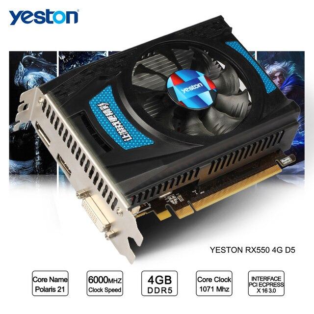 Yeston Radeon RX 550 GPU 4 GB GDDR5 128bit Chơi Game Máy Tính Để Bàn máy tính PC Video Card Đồ Họa hỗ trợ DVI-D/HDMI2.0B PCI-E 3.0