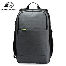 Kingsons Brand External USB Charge Laptop Backpack Anti-theft Notebook Computer Bag 15.6 inch for Business Men Women(China)