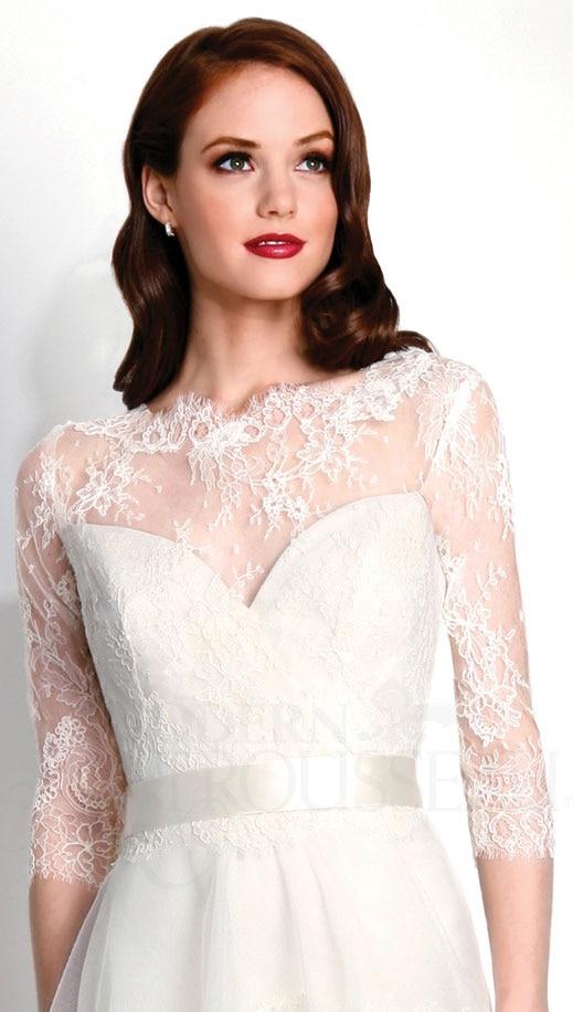 ivoire blanc dentelle applique bolero de mariage trois trimestre manches accessoires de mariage custom made - Bolero Mariage Blanc