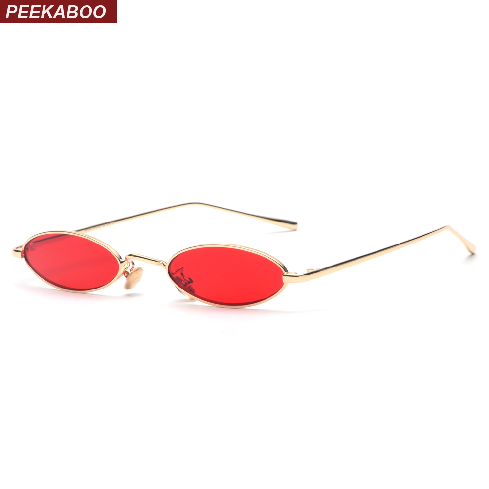 Peekaboo small oval sunglasses for men male retro metal frame yellow red vintage small round sun glasses for women 2018