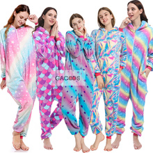 Зимняя Фланелевая пижама с единорогом, комбинезон для взрослых и женщин, пижама с единорогом, комбинезон в стиле аниме, косплей, Стич, Мужская пижама с единорогом