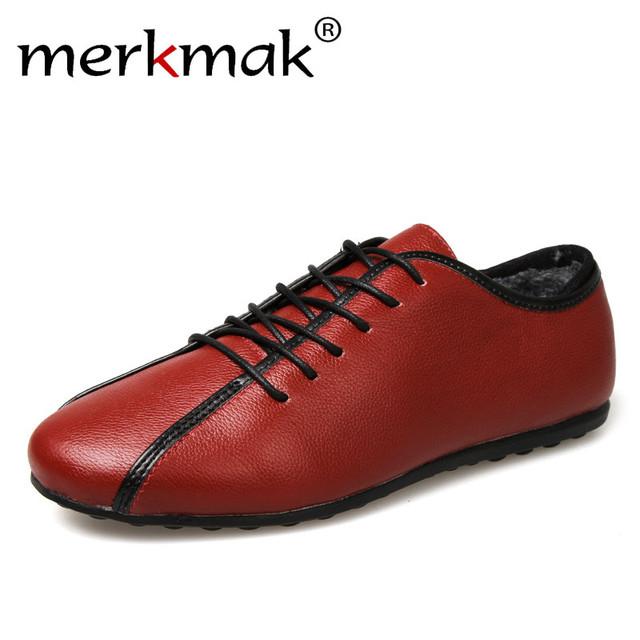 Merkmak Hombres Zapatos Casuales de La Moda de Invierno Cálido Cuero Genuino Espesar Fur Interior Comodidad Zapatos Mocasines Mocasines Para Hombre Zapatos Oxford