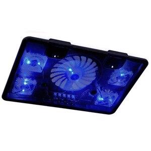 """Image 3 - NA JU refroidisseur dordinateur portable Pad 14 """"15.6"""" 17 """"avec 5 ventilateurs 2 Port USB support coulissant ordinateur portable ventilateur de refroidissement avec lumière"""