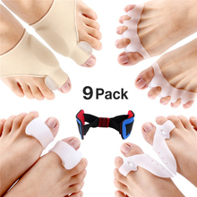 9pcs/lot Bunion Corrector Protector Sleeves Kit for Cure Pain in Big Toe Joint Bunion Hallux Valgus